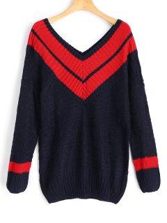 V-Ausschnitt Mit Zwei Tönen Pullover - Schwarzblau