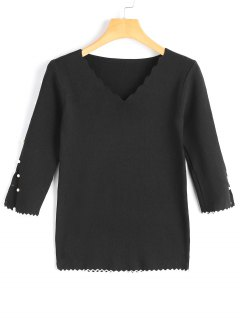 Scalloped Faux Pearls Pullover Knitwear - Black