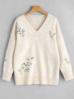 Pullover Mit V Ausschnitt Blumenstickerei Und Schlitz  - Beige