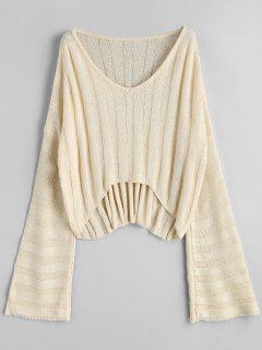 Suéter Con Cuello En V De Gran Tamaño - Beis