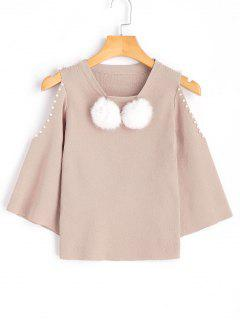 Faux Pearls Cold Shoulder Knit Sweater - Apricot