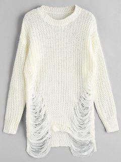 Distressed Chunky Sweater - Off-white