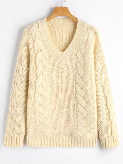 V Neck Pullover Cable Knit Sweater - Off-white