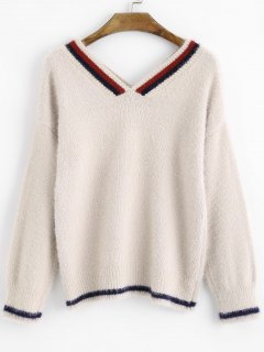 Contrasting Fuzzy V Neck Pullover Sweater - Light Beige