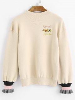Pullover Mit Mock Neck Und Stickerei - Aprikose