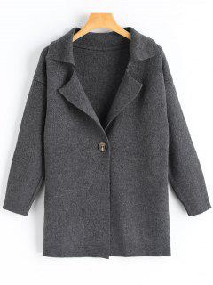 One Button Longline Cardigan - Deep Gray