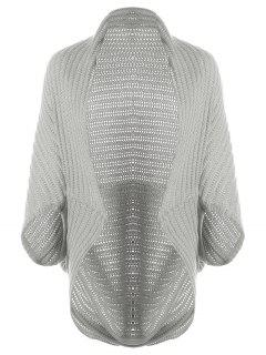 Loose Cape Open Front Cardigan - Gray