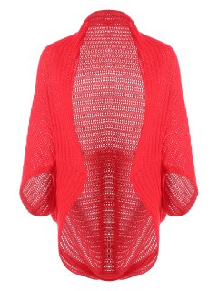 Loose Cape Open Front Cardigan - Red