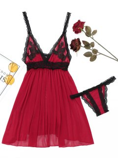 Laced Sheer Mesh Babydoll - Red