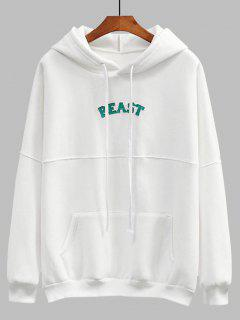 Patch Fleece Oversized Hoodie - White