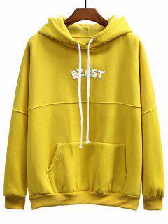 Patch Fleece Übergroßer Hoodie - Dunkel Gelb