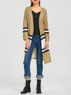 Color Block Open Front Knit Cardigan - Khaki S