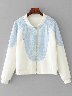 Reißverschluss-Kontrastierende Sheer Jacke - Weiß M
