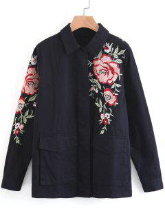 Floral Embroidered Jean Button Up Jacket - Black L