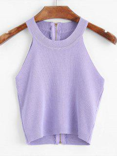 Knitted Back Zip Cropped Tank Top - Purple