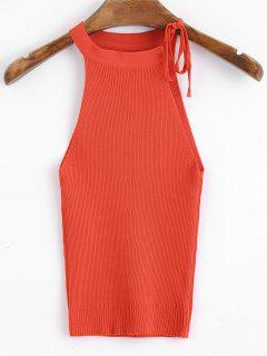 Knitted Bow Tied Cropped Tank Top - Red
