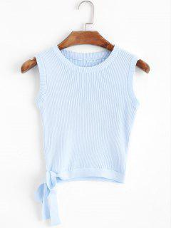 Knitted Bowknot Cropped Tank Top - Light Blue