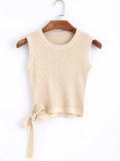 Knitted Bowknot Cropped Tank Top - Apricot