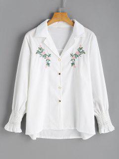 Bluse Mit Gefalteten Ärmel Und Blumestickerei  - Weiß S