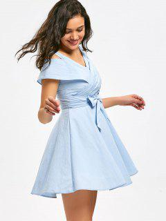 Cold Shoulder Self Tie Bowknot Mini Dress - Light Blue M