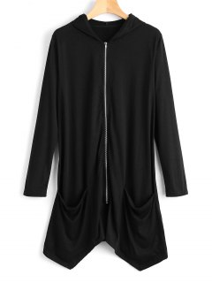 Zip Up Longline Hoodie - Black M