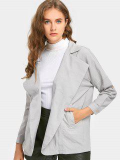 Lapel Button Up Coat - Light Gray S