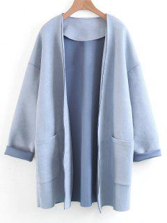 Open Front Faux Suede Coat - Light Blue S
