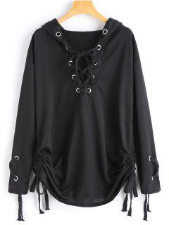 Ruched Lace Up Hoodie - Black S