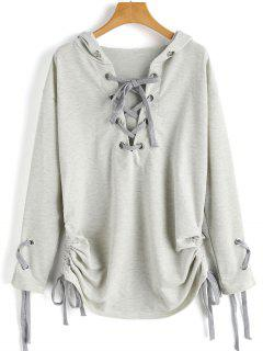 Ruched Lace Up Hoodie - Light Gray S