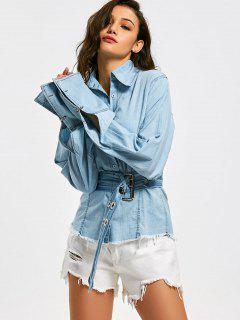 Button Up Frayed Hem Belted Chambray Shirt - Light Blue M