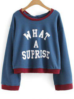 Letter Oversized Two Tone Hoodie - Blue