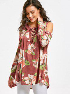 Camiseta Con Estampado Floral En Hombros Al Frío - Floral S