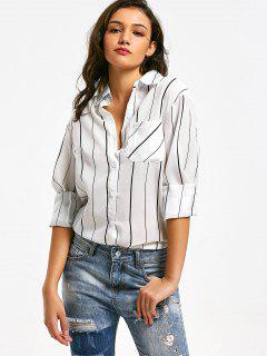 Button Up Striped Longline Pocket Shirt - White S