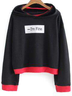 Front Logo Oversized Two Tone Hoodie - Black