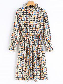 Geometrical Print Corduroy Dress - Palomino Xl
