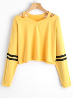 Cropped Cutout Stripes Panel Top - Yellow S