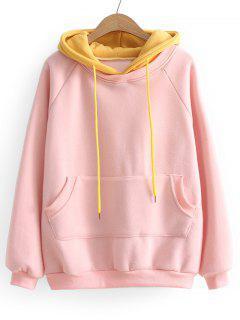 Drawstring Two Tone Oversized Hoodie - Pink