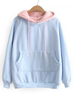 Drawstring Two Tone Oversized Hoodie - Light Blue