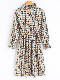Geometrical Print Corduroy Dress - Palomino S