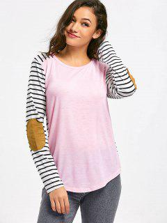 Striped Elbow Patched Contrast Tee - Pink M