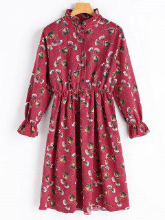 Blumenmuster Langarm Cord Kleid - Rot S