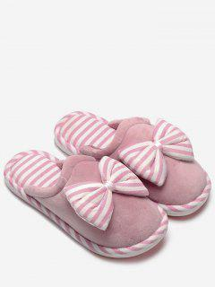 Plush Bowknot Striped House Slippers - Pink Size(40-41)