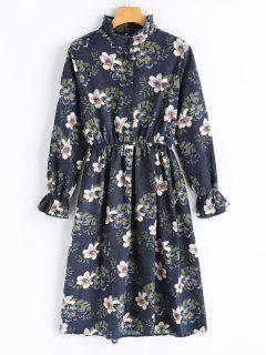 Floral Corduroy Long Sleeve Dress - Purplish Blue L