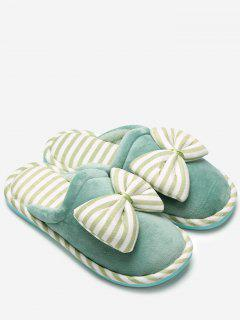 Plush Bowknot Striped House Slippers - Green Size(40-41)