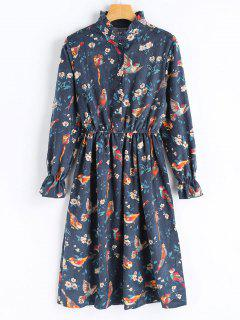 Birds Print Long Sleeve Corduroy Dress - Deep Blue L