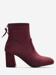 Block Heel Pointed Toe Ankle Boots - Wine Red 36