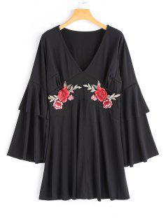 Flower Applique Bell Sleeve Dress - Black Xl