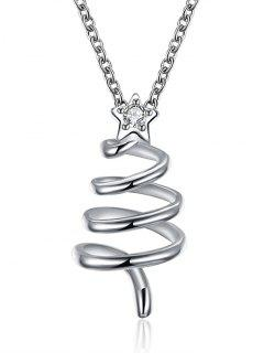 Christmas Spiral Tree Drop Necklace - Silver