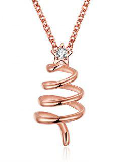 Christmas Spiral Tree Drop Necklace - Golden