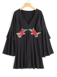 Flower Applique Bell Sleeve Dress - Black L
